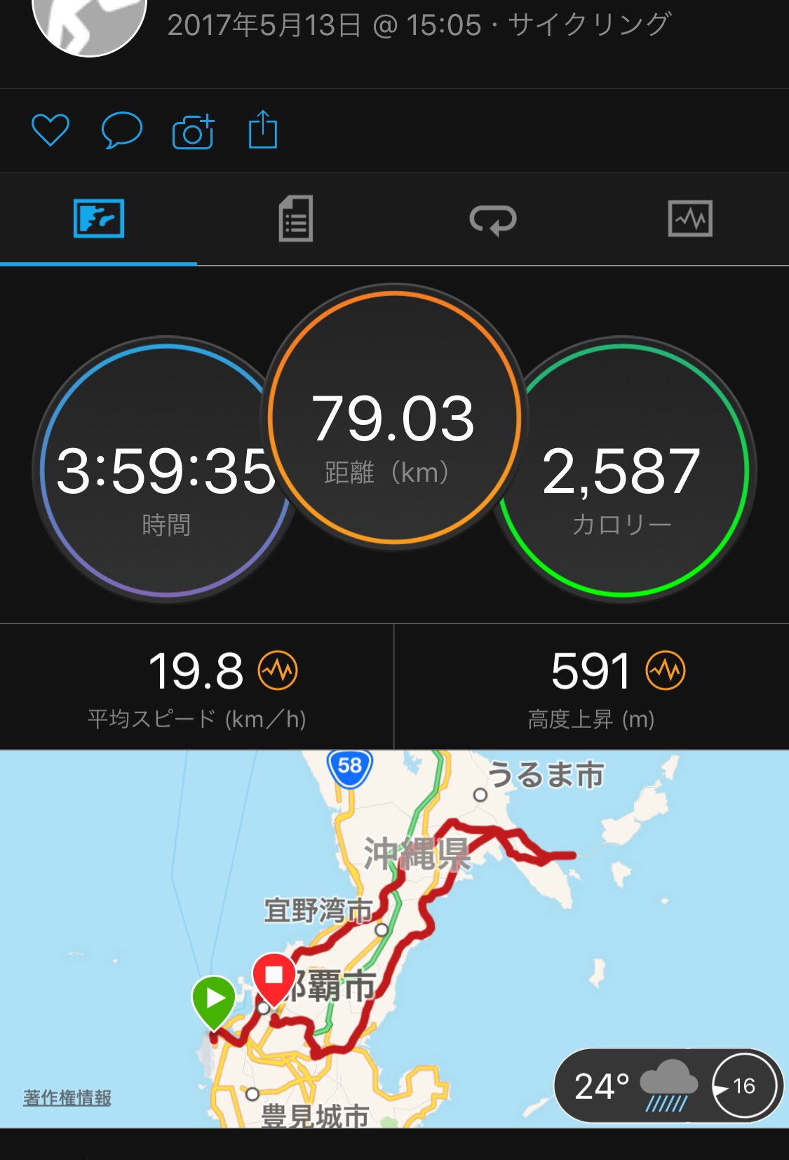 5月13日サイクリングデータ 沖縄 海中道路 那覇空港